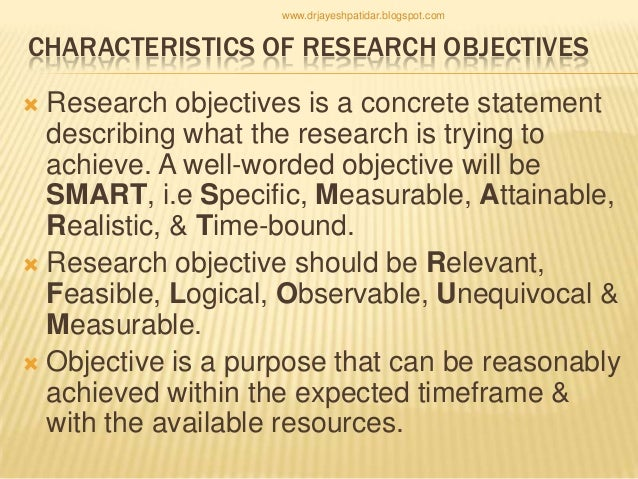 statement of objectives research paper