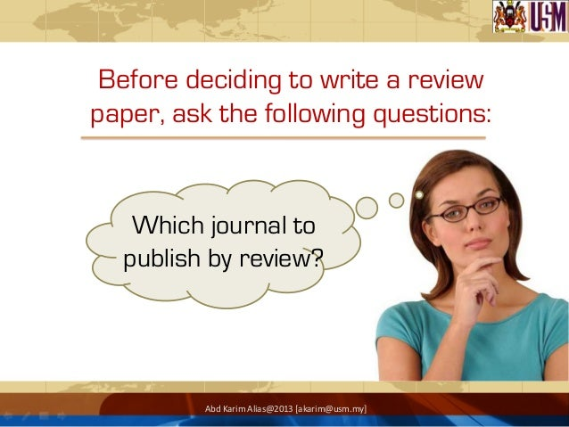 Writing a review paper