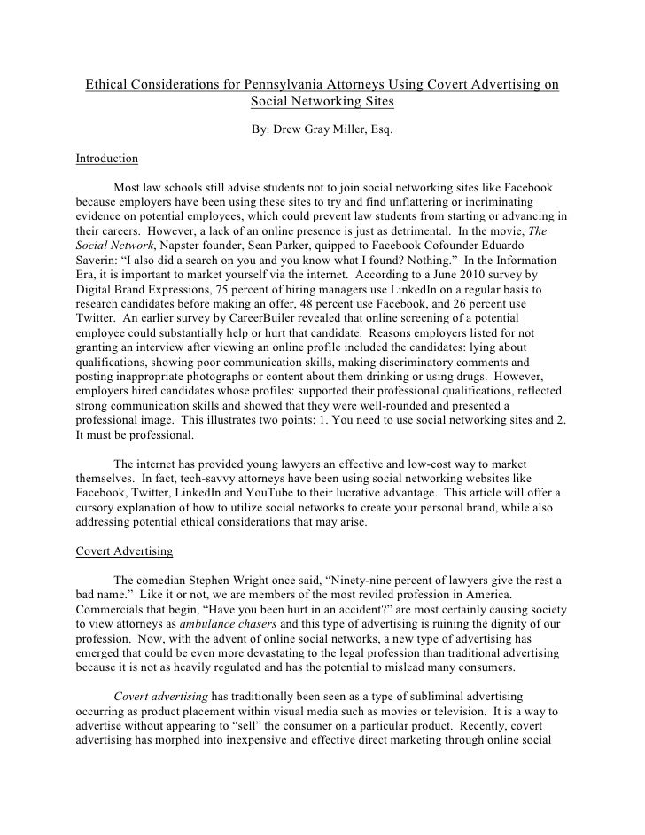 a research on ethical issues in social networking