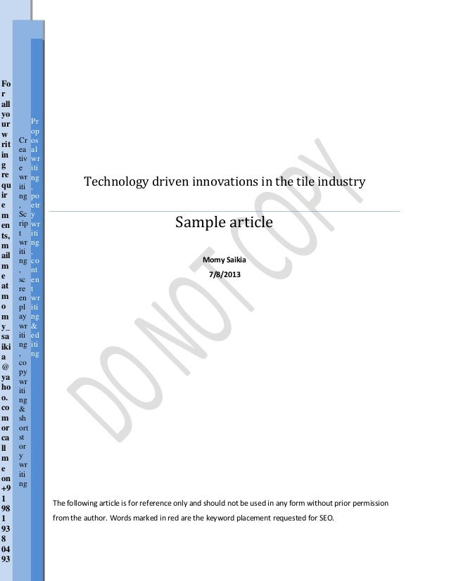 Technology driven innovations in the tile industry Sample article Momy Saikia 7/8/2013 The following article is for refere...