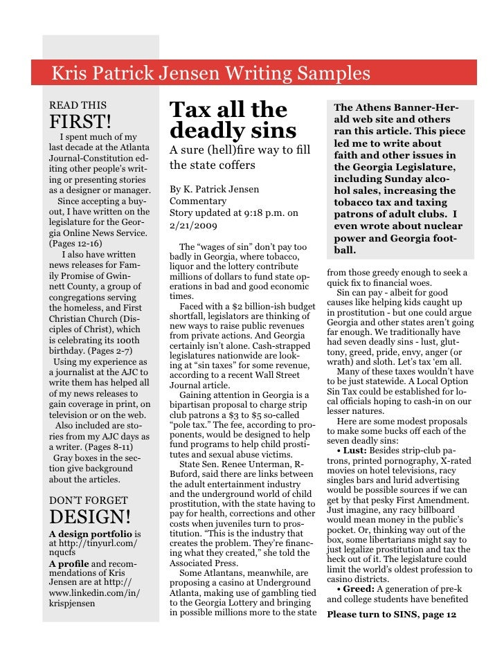 Kris Patrick Jensen Writing Samples READ THIS                              Tax all the                               The A...