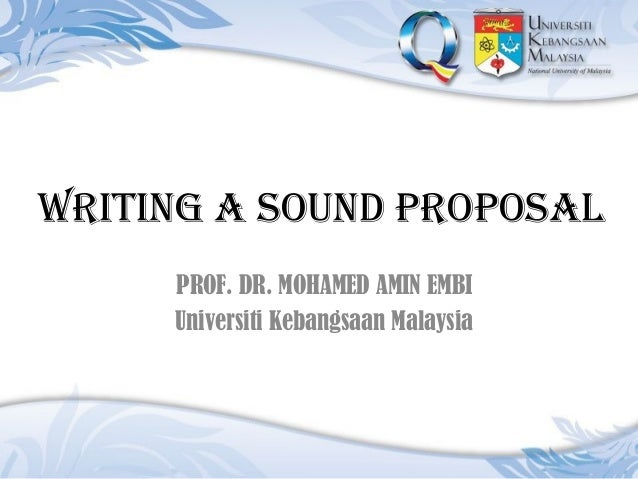 Writing A Sound Proposal