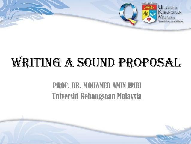 Writing A Sound Proposal