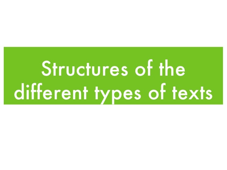 Structures of the different types of texts