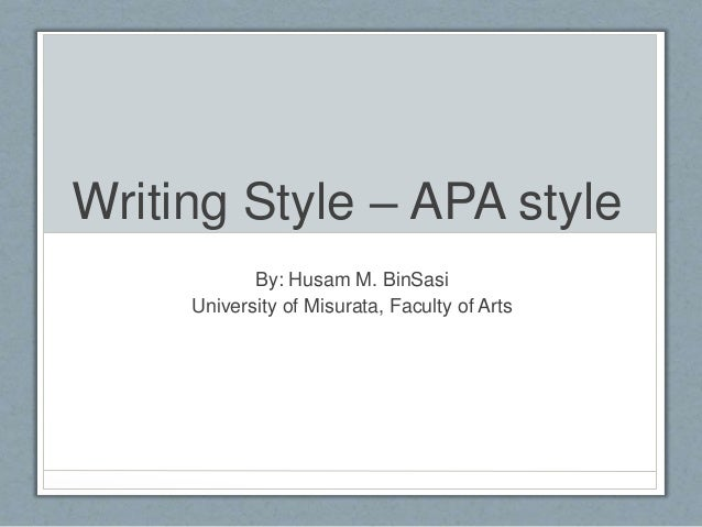APA style of writing?