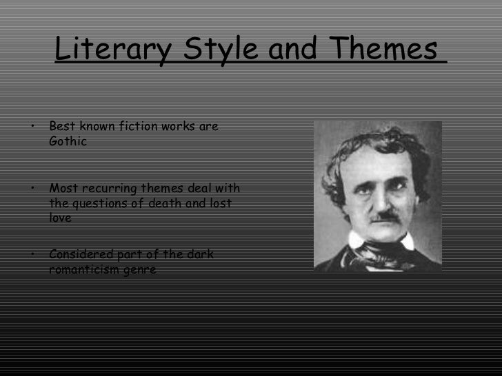 edgar allan poe style Stylistically, poe can be quite maddening, even as we marvel at the precision and at the tightly packed, exquisitely worded, yet curiously rough sentences – each open to hours of debate within the ten-paragraph frame of a tell-tale heart we see many groups of short sentences, like this: object.