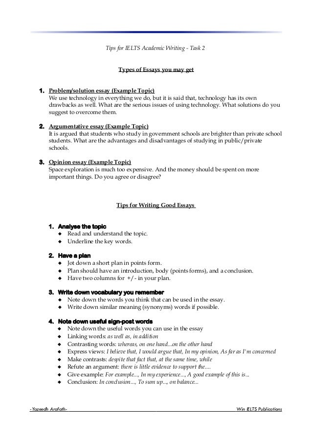 Writing - Task 2Types of Essays you may get1. Problem/solution essay ...