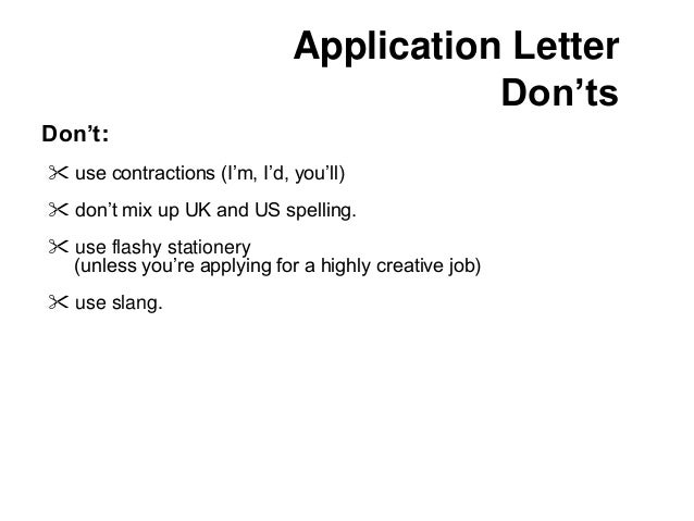 job application letter for vacant position