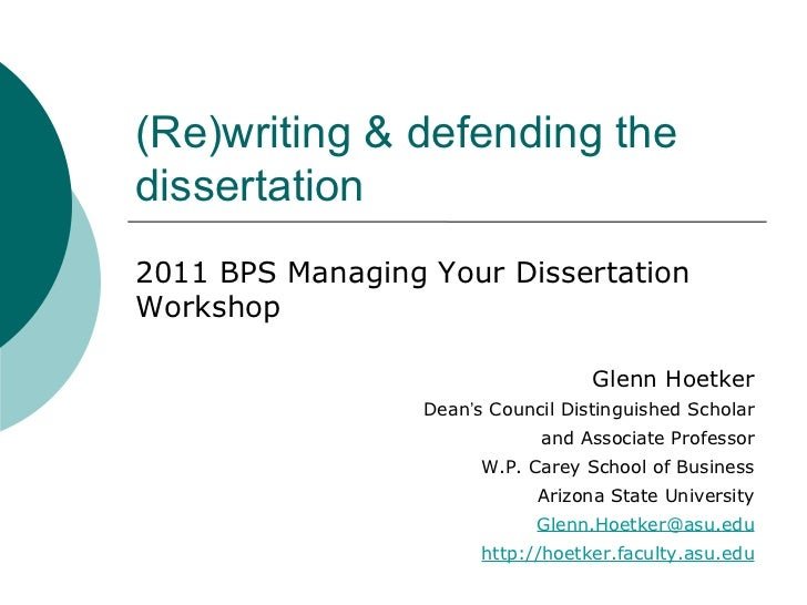How to write a successful dissertation