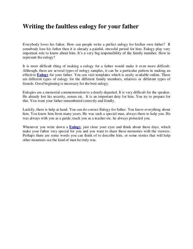 ... Writing An Eulogy How To Write A Eulogy A Eulogy Is A Speech Given At A