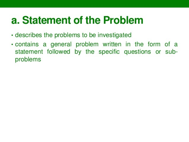 writing a research paper statement of the problem example