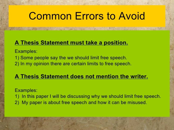 Thesis for a speech