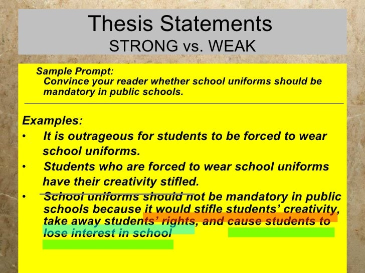 school uniforms thesis statement School uniforms school uniforms are becoming a popular trend amongst schools students and even most parents don't agree with the enforcement with.