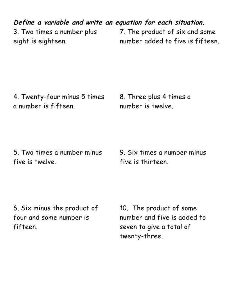solving one step equation worksheets