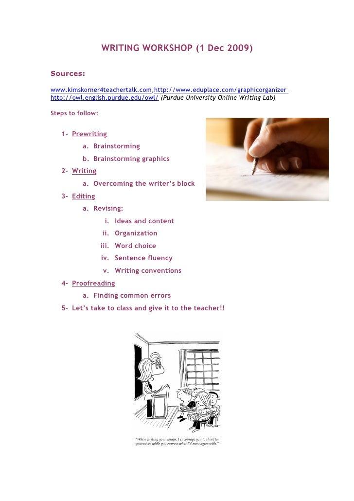 WRITING WORKSHOP (1 Dec 2009)  Sources:  www.kimskorner4teachertalk.com,http://www.eduplace.com/graphicorganizer http://ow...