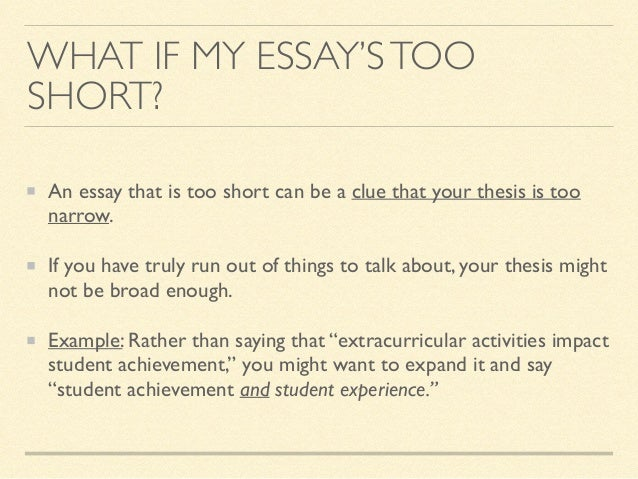 Problem: your essay is too long