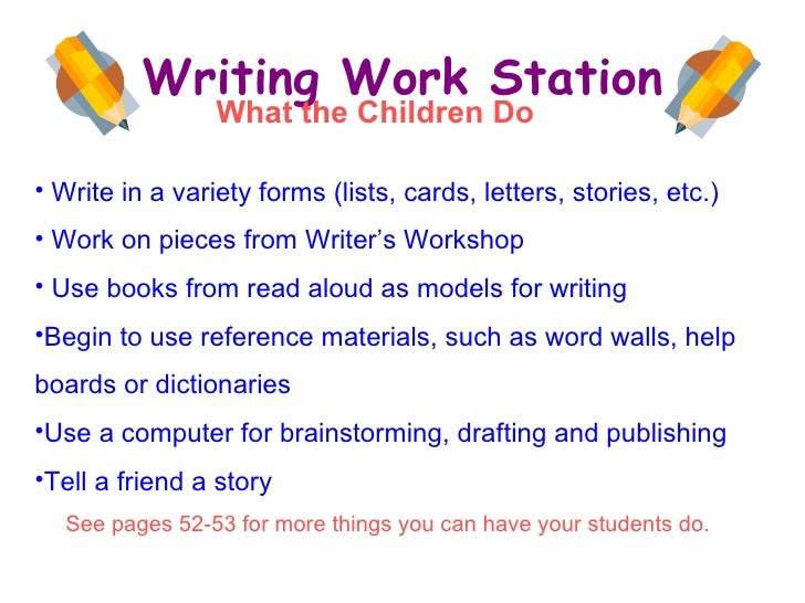 Writing Work Station <ul><li>Write in a variety forms (lists, cards, letters, stories, etc.) </li></ul><ul><li>Work on pie...