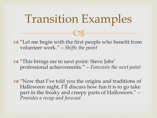 creating transitions essays One of the most important tools for creating good flow in writing is the transition transitions are the bridges that allow a reader to.