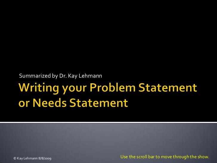 Writing your problem statement revised