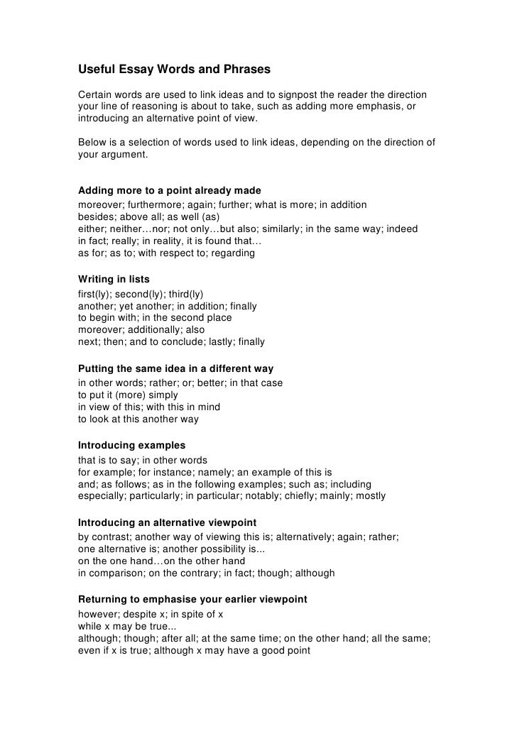 essay writing vocabulary