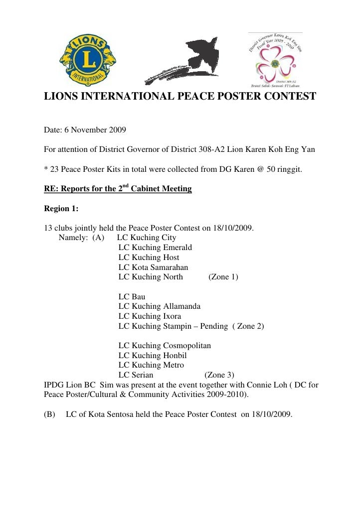 LIONS INTERNATIONAL PEACE POSTER CONTEST  Date: 6 November 2009  For attention of District Governor of District 308-A2 Lio...