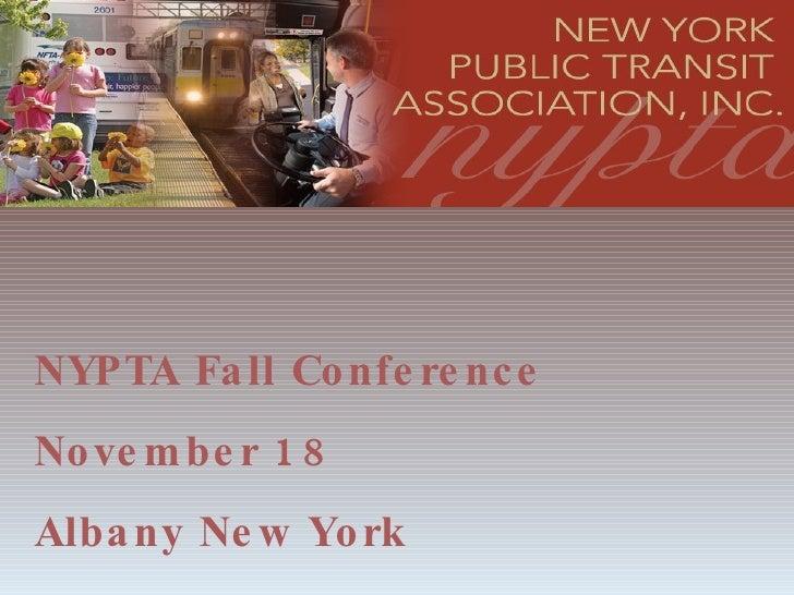NYPTA Fall Conference November 18 Albany New York