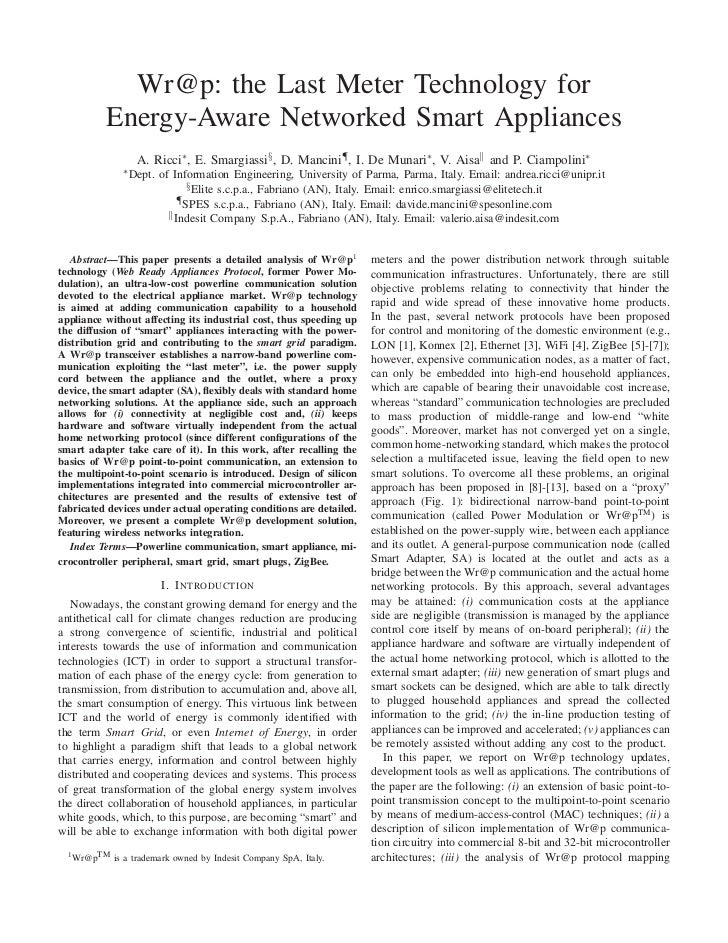 Wr@p: the Last Meter Technology for          Energy-Aware Networked Smart Appliances                  A. Ricci∗ , E. Smarg...