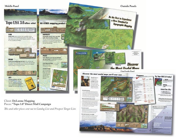 """Client: DeLorme Mapping Pieces: """"Topo 3.0"""" Direct Mail Campaign This and other pieces sent out to Catalog List and Prospec..."""