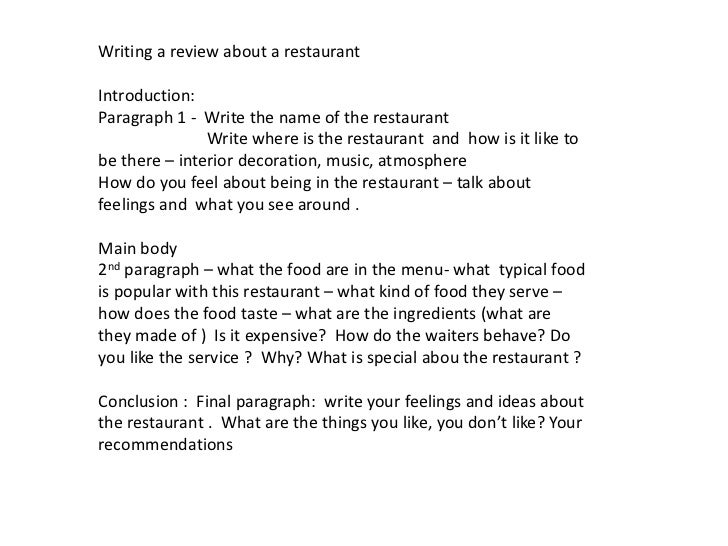 College restaurant review essays examples