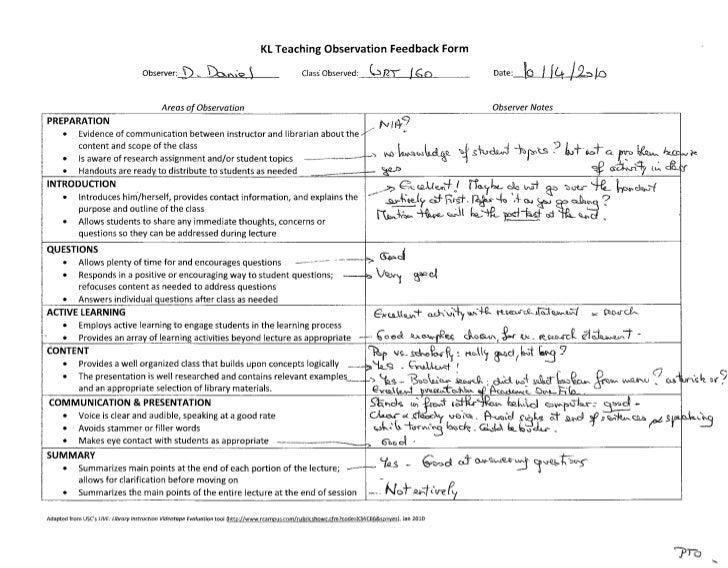Wrt 160 library instruction observation