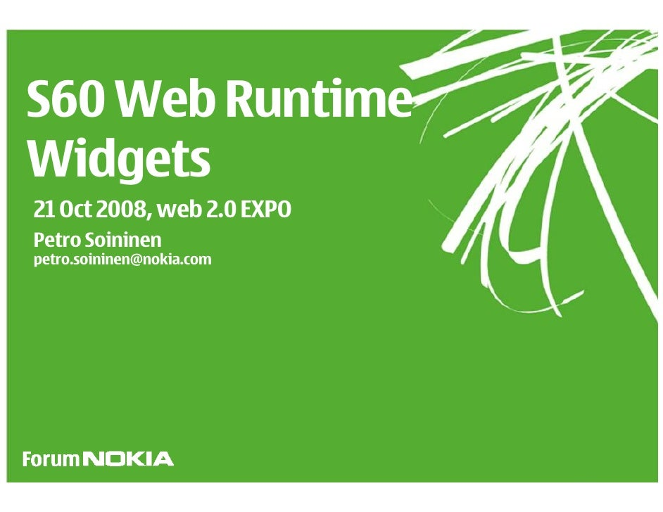 S60 Web Runtime - Web2.0 Expo Europe 2008