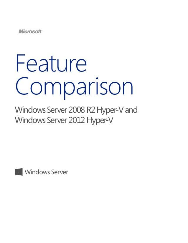 Feature Comparison WindowsServer2008R2Hyper-Vand WindowsServer2012Hyper-V