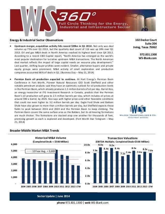 Sector Update | June 2014 phone 972.831.1300 | web WS-iBank.com Energy & Industrial Sector Observations  Upstream merger,...