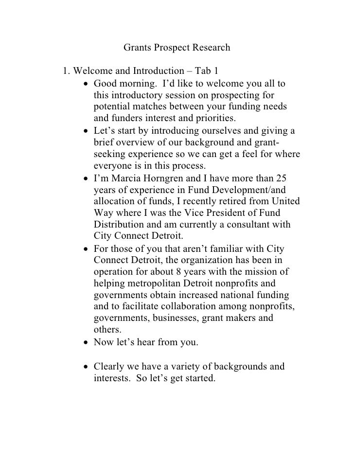Grants Prospect Research  1. Welcome and Introduction – Tab 1      Good morning. I'd like to welcome you all to        th...