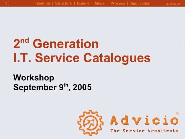 Intention  |  Structure  |  Bundle  |  Model  |  Process  |  Application 2 nd  Generation  I.T. Service Catalogues Worksho...