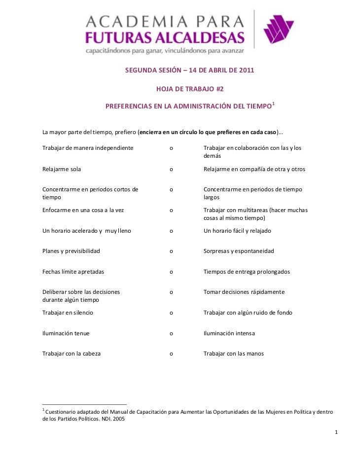 Ejercicios | 2da Sesión | Preferencias en la administración del tiempo
