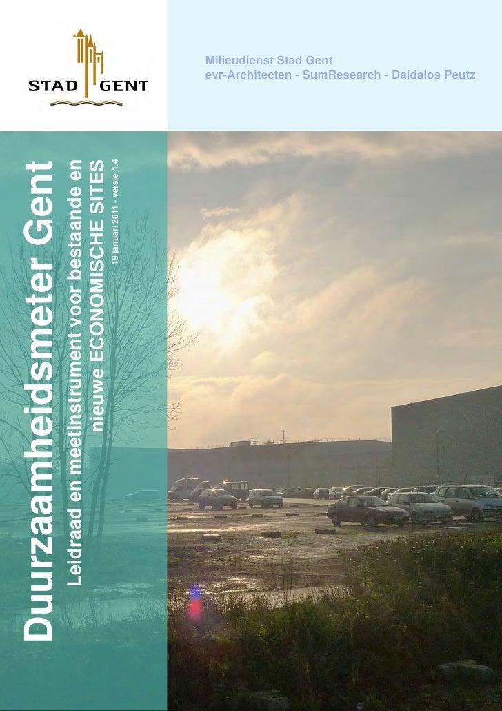 Duurzaamheidsmeter Gent  Leidraad en meetinstrument voor bestaande en                  nieuwe ECONOMISCHE SITES           ...