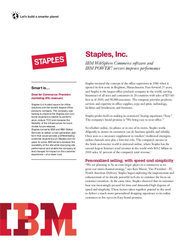 Staples, Inc. IBMWebSphere Commerce software and IBMPOWER7 servers