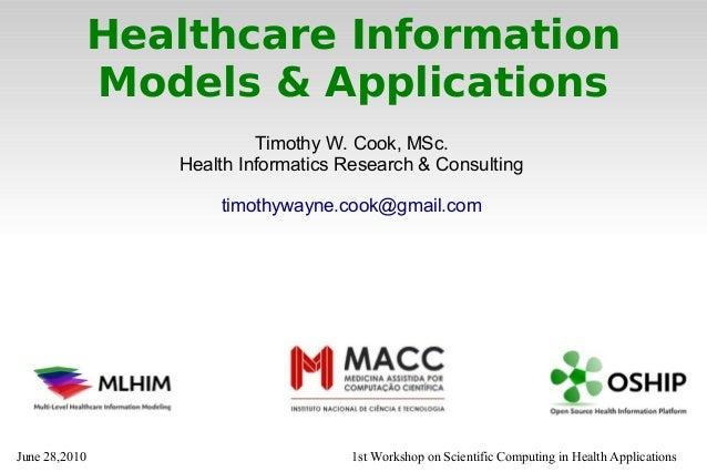 Timothy Cook, MSc. presents MLHIM @ WSCHA 2010