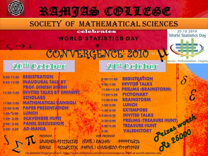 RAMJAS COLLEGE        Society of mathematical sciences                                           celebrates               ...