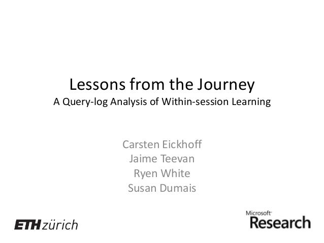 Lessons from the Journey A Query-log Analysis of Within-session Learning  Carsten Eickhoff Jaime Teevan Ryen White Susan D...