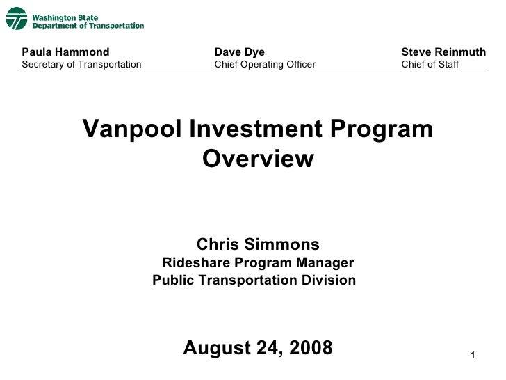 Vanpool Presentation for WSDOT at 2008 Association for Commuter Transportation Vanpool Summit