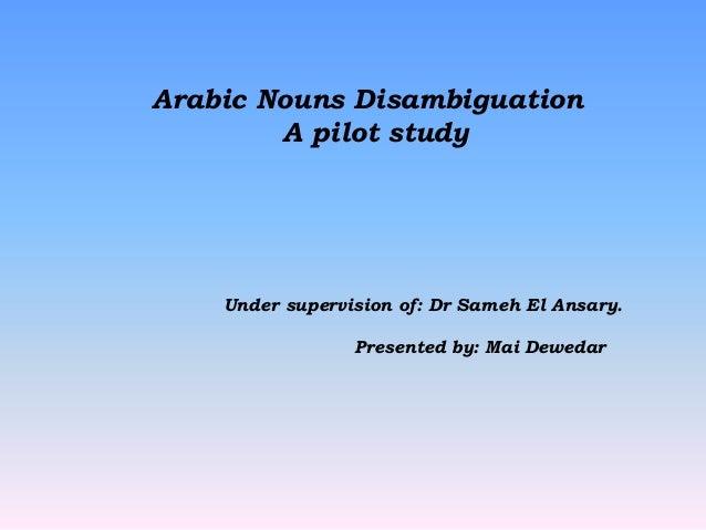 Arabic Nouns Disambiguations