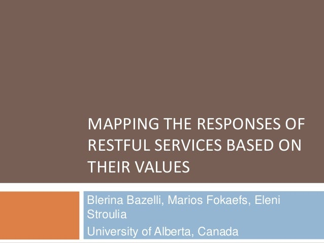 MAPPING THE RESPONSES OF RESTFUL SERVICES BASED ON THEIR VALUES Blerina Bazelli, Marios Fokaefs, Eleni Stroulia University...