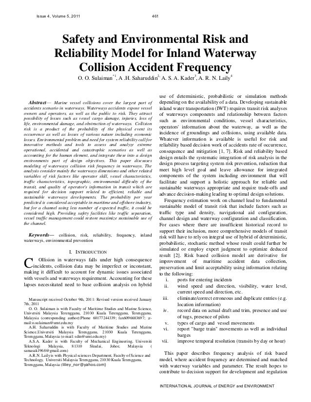 Safety and Environmental Risk and Reliability Model for Inland Waterway Collision Accident Frequency