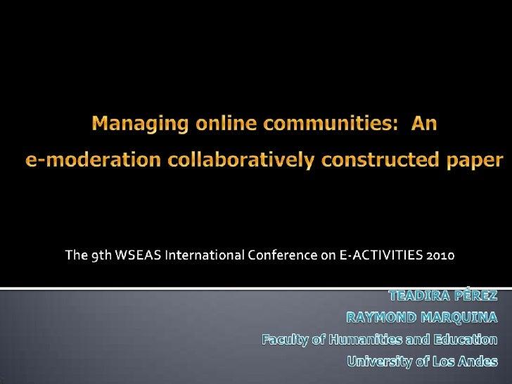 Presentación usada en WSEAS 2010