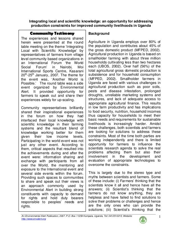 An Environmental Alert Publication, 2007. P.O. Box 11259 Kampala, Uganda, Tel: 0412510215; Website: http://www.envalert.or...