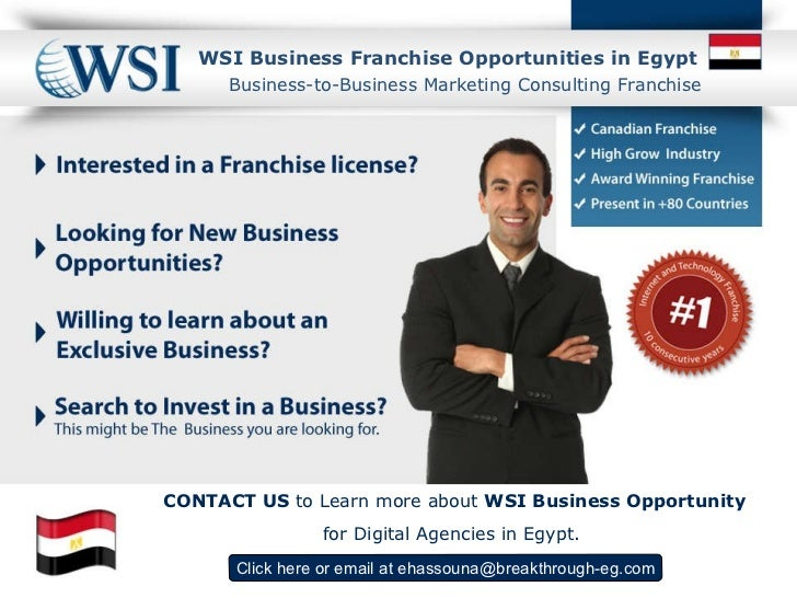 WSI  Business Franchise Opportunities in Egypt Click here  or email at  [email_address] Business-to-Business Marketing Con...
