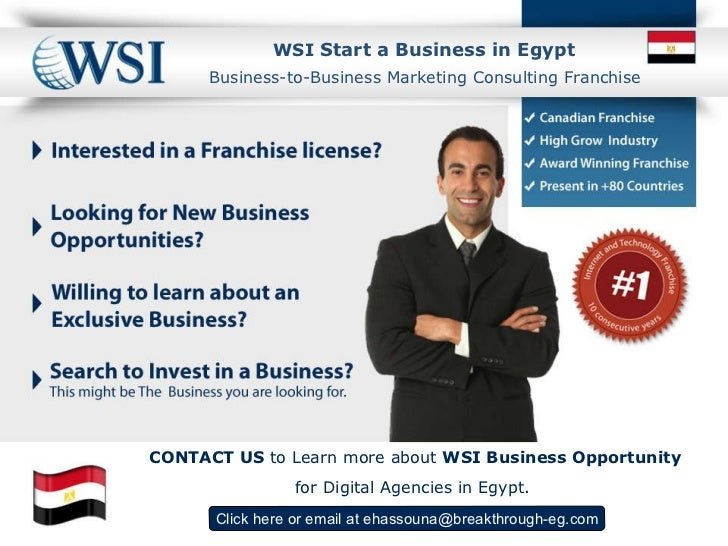 WSI  Start a Business in Egypt Click here  or email at  [email_address] Business-to-Business Marketing Consulting Franchis...