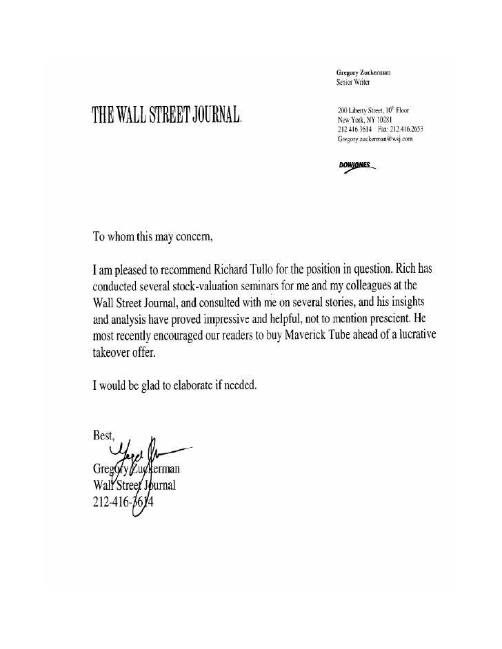 Wsj Letter Of Recommendation